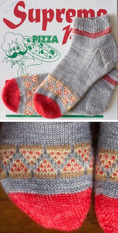 Free until May 31 2019 Knitting Pattern for Pizza Party Socks - Pizza slices in stranded colorwork decorate these cuff down heel flap socks Adult M and L Designed by Emma Kerian Knitting Blogs, Lace Knitting, Knitting Socks, Knitting Designs, Knitting Patterns Free, Knit Patterns, Knitting Projects, Free Pattern, Knitting Charts