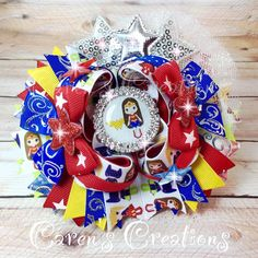 Wonder Woman stacked boutique bow, wonder Girl, superhero, hair bow, bow, over the top, girl's Hair accessories.
