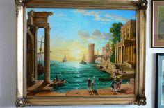 Port o zachodzie słońca, olej 92 x 73 cm.