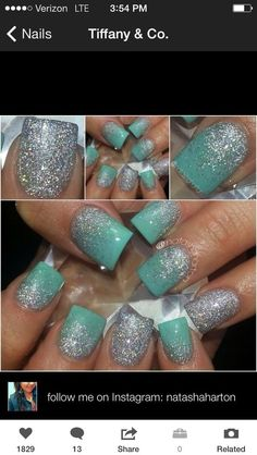 Mint Nails whit silver ombre