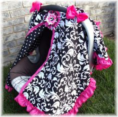 Baby Carseat Canopy FREESHIP Cover / Carseat Tent / Carseat Blanket CReATE YouR OWN Colors RuFFle Cover. $42.99, via Etsy.