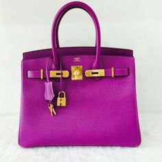 Hermes Birkin 30cm Anemone (new 2014 color!) in epsom leather and gold hardware....