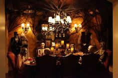 Dining Room. Mesmerizing Halloween Table Set For Dinner Party Ideas: Very Creepy Halloween Table Set Dinner Party Ideas With Classic Chandelier Zombies And Skeletons Also Spooky Decoration Design ~ wegli