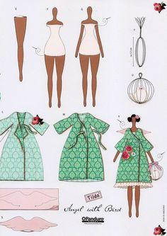 Платье для куклы тильды Angel with Bird: выкройка для кройки и шитья