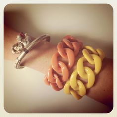 Angela Caputi link bracelet in Resin, combined with Jaipur elephant bracelet