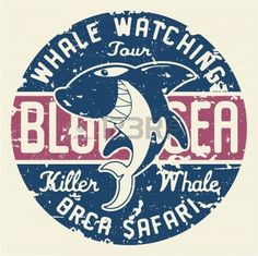 Killer whale badge - artwork for children wear in custom colors, grunge effect in separate layer. photo