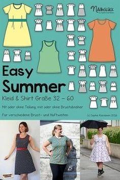 Das Kleid oder Shirt Easy Summer ist ein einfacher, aber sehr wandelbarer Basic-Schnitt. Einen anderen Schnitt brauchst du für den Sommer nicht!  Durch die verschiedenen Linien im Schnittmuster kann es ganz einfach auf deine individuelle Figur angepasst werden.  Für die Gestaltung gibt es unzählige Möglichkeiten. So kann es ärmellos, mit kurzem Ärmel, geteilt oder ungeteilt, mit schmalem oder weitem Rockteil genäht werden.    Material Du benötigst Jersey oder Interlockstoff nach unten…