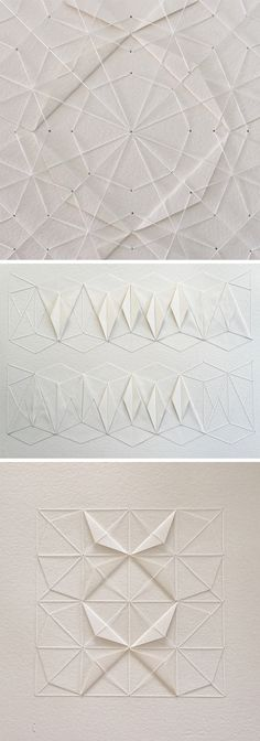 Click for more pics!   Delicate Stitched Origami Patterns by Liz Sofield #origami #paperart #patterns