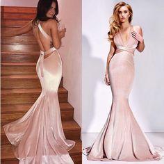 BeautyRobes Mermaid Deep V-Neck Sweep Train Blush Pink Velvet Criss Cross Straps Long Prom Dress, 6666234