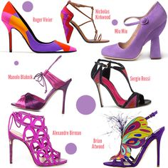 Pantone Color of the Year 2014: Radiant Orchid Shoes - fun designs, great colors, wearability.... not so much. But these on a shelf in my office yes!