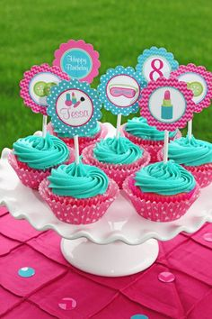 Items similar to Girls Spa Birthday Party PRINTABLE Cupcake Toppers pedi manicure facials pink teal lime green DIY personalized on Etsy Spa Cupcakes, Spa Party Cakes, Spa Cake, Spa Party Favors, Party Invitations Kids, Cupcake Party, Spa Sleepover Party, Spa Day Party, Kids Spa Party
