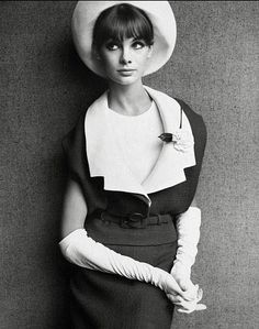 Jean Shrimpton in a Dior suit, 1963, photo by John French for The Sunday Times in London