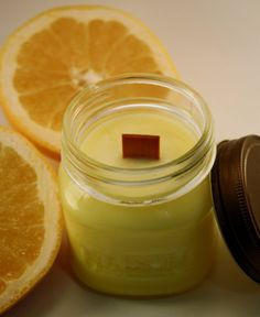 Wood Wick Soy Jar Candle  Grapefruit  Scented 8 by Blackberrythyme, $9.00