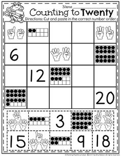 Counting to 20 Worksheets for Kids. Great for Kindergarten and Preschool.