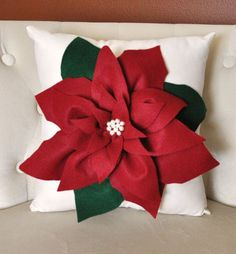 Holiday Decor Christmas Pillow Cranberry Poinsettia