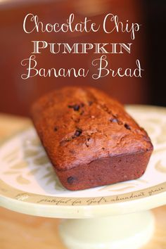 Easy chocolate chip pumpkin banana bread recipe - makes a double batch