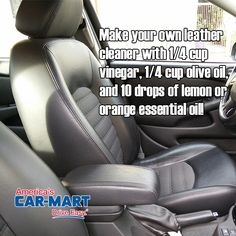 Clean your leather seats with this DIY cleaner! #tipoftheweek #diy #cleancar…