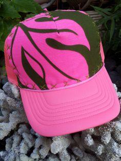 Valentines Special 20 off Trucker Hat Neon Pink by AumoanaDesigns, $25.00