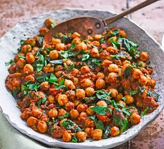 This Southern Indian chickpea curry, created by reader Jon Gregg, is a vegan recipe that& three of your five-a-day. If you& big on meat, then this is the perfect veggie accompaniment Easy Chickpea Curry, Chickpea Recipes, Veggie Recipes, Vegetarian Recipes, Healthy Recipes, Vegetarian Cooking, Veggie Food, Rice Recipes, Bbc Good Food Recipes