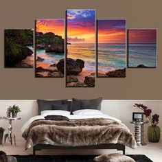 Buy Canvas Wall Art Pictures 5 Pieces Sunset Glow Paintings Home Decor Living Room HD Prints Beach Waves Seascape Posters Framework Wall Art Pictures, Canvas Pictures, Canvas Art Prints, Canvas Wall Art, Artwork Wall, Beach Pink, Sunset Sea, Modern Wall Art, Painting Frames