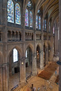 CHAP 8: Shown here is a triforium. This is in the Cathedral Chartres, France. Interior, north nave elevation looking east from triforium. A triforium is a second story gallery overlooking the nave with windows on its exterior walls.