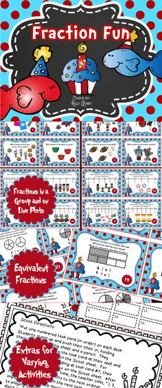 Fractions Task Cards Math Test Prep - These fraction task cards are perfect for providing your students with practice on fractions! Fun and engaging activities are included for whole group lessons, math centers, RTI groups, fast finisher activities, etc. Click here to see what other teachers have to say about this fraction packet!