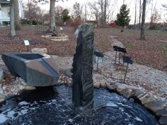 One of our wonderful soapstone fountains from Toru Oba. On display at Southern Grace.