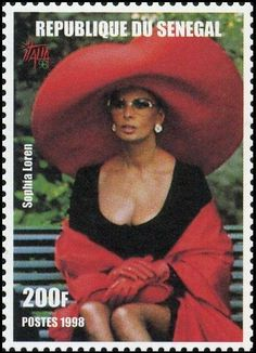 Stamp: Sophia Loren (Senegal) (International Stamp Exhibition ITALIA '98 - Film Actors) Mi:SN 1605,Yt:SN 1300 African Image, Postage Stamp Collection, Postage Stamp Art, Going Postal, Movie Magazine, Poster Ads, Sophia Loren, Stamp Collecting, Hollywood