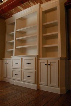 another built in look could do this in office with files cabinets and shelves built in office