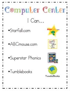"""Riccas Kindergarten: Literacy Center I Can Cards {Freebie}.great idea to post this at computer center so you don't get the same question over and over again of """"what can we get on today? Teaching Technology, Teaching Tools, Teaching Resources, Learning Sites, Preschool Activities, Teaching Ideas, Literacy Stations, Literacy Centers, Work Stations"""