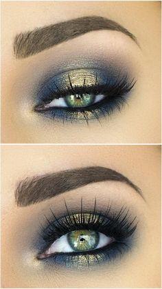 tutoriel maquillage en vert et doré nuancé et estompé avec le pinceau sourcils marron clair épais