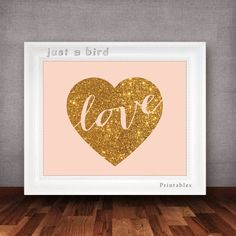 gold and peach wall decor | Pastel peach wall art, gold glitter heart typography poster, Valentine ...