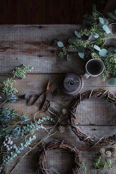 "delta-breezes: ""diy woven eucalyptus & grapevine wreaths by Beth Kirby Scandi Christmas, Noel Christmas, Christmas Wreaths, Christmas Decorations, Holiday Decor, Holiday Mood, Magical Christmas, Diy Wreath, Grapevine Wreath"