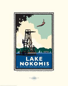 Landmark Series | Lake Nokomis, Minneapolis, MN by artist Mark Herman. All of our art is original digital graphic art, illustrated exclusively by