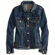 American Eagle Boyfriend Jeans Jacket (Coat) ($50) ❤ liked on Polyvore featuring outerwear, jackets, coats & jackets, coats, denim, authentic dark indigo, american eagle outfitters jacket, blue jean jacket, boyfriend denim jacket and jean jacket