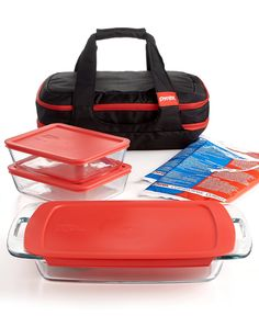 Who's ready to tailgate? An easy-to-grab container set will help you tote your prepped ingredients from the kitchen to the parking lot with no hassle — Pyrex portable double decker 9-piece food storage container set