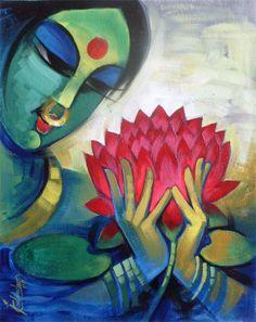 lotus art   Acrylic Art Gallery art for sale lotus in bloom
