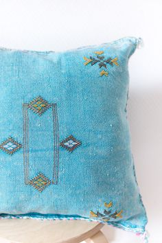 Moroccan Cactus Silk Kilim Pillow Cover Blue door LoomAndField