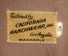 early California Ranchwear label