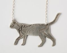 Cat Necklace - Cat Skeleton - Animal Necklace - Skeleton Necklace - Cat Jewelry - Silver Cat  PRODUCT INFO AND PROCESS: To create this piece, I first