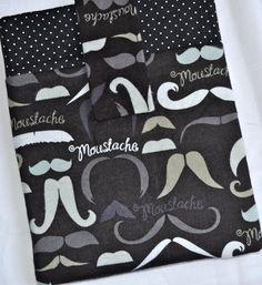 iPad Case - Black and White Moustache - Cozy Flannel. $28.00, via Etsy.