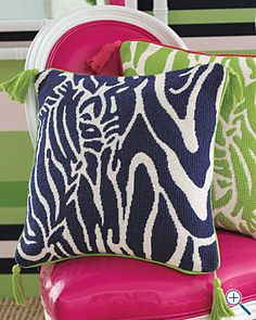 "Lilly Pulitzer ""Catching Z's"" needlepoint pillow cover"