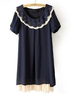 #SheInside Black Short Sleeve Zigzag Neck Chiffon Dress