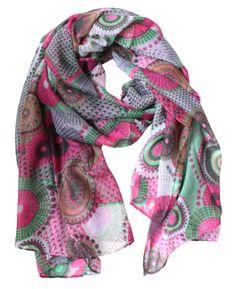 Julia - Deze sjaal past perfect bij de nieuwste voorjaarsmode! Deze sjaal heeft een prachtige kleur, grijs, roze en groen  Materiaal: 100% polyester