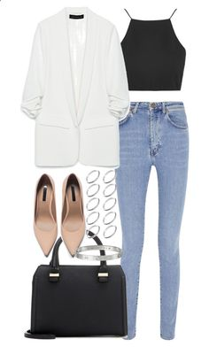 Untitled #3388 by plainly-marie ❤ liked on Polyvore featuring Yves Saint Laurent, Topshop, Zara, Victoria Beckham and ASOS