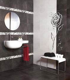 Want to make a statement? Pair this white & black border tile with black wall tiles to really make an impact. Black Wall Tiles, Black Walls, Bathroom Designs, Bathroom Ideas, Bling Bathroom, Border Tiles, Statement Wall, Changing Room, Wall Design