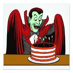Vampire Birthday Invitations Dracula Vampire Halloween Birthday Card