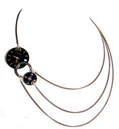 Collier asymétrique 3 cadrans de montres anciennes de Victorian Rehab sur DaWanda.com