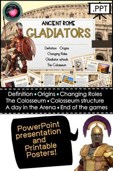 Gladiators - Ancient Rome PowerPoint and Posters Education And Literacy, Primary Education, Texas Education, Primary Teaching, Baby Education, Visible Learning, Study Board, Text Types, Secondary Teacher