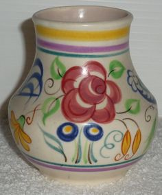 Poole pottery 1950s vintage Bulbous Blue Bird and Floral hand Painted Posy Flower Vase - Lovely collectable piece